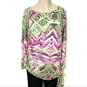 CHICO'S Multi-Color Abstract Side Tie Blouse Sz 3